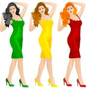 beautiful woman in red yellow and green dress - stock illustration