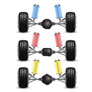Stock Illustration of set rear suspension car with different gearing.