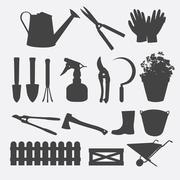 Gardening tools silhouette vector Stock Illustration