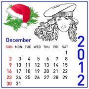 2012 year calendar in vector. december. - stock illustration