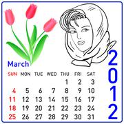 2012 year calendar in vector. march. Stock Illustration