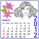 Stock Illustration of 2012 year calendar in vector. august.