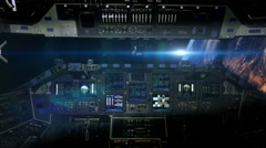0111 Cockpit Space Shuttle Earth Sunrise with Space Station, HD Stock Footage