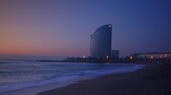 Barceloneta Beach and Hotel Vela in Barcelona, Spain. Stock Footage