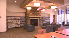 Interior new library study area Stock Footage