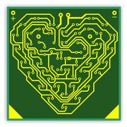 Circuit board pattern in the shape of the heart. illustration. vector. Stock Illustration