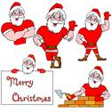Stock Illustration of a set of pictures muscular santa claus