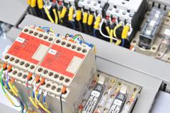 panel with  electrical equipment - stock photo