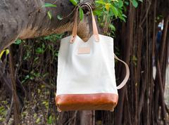 Canvas bags hang on banyan branch Stock Photos