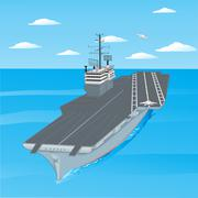 Planes taking off from the deck of an aircraft carrier in the ocean. Stock Illustration