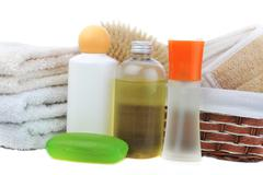 many towels and accessories to bathing - stock photo