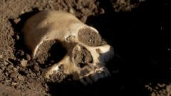 Track over half buried skull Stock Footage