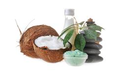 Coconut,salt and stones Stock Photos