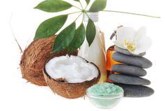 coconut,salt and stones - stock photo