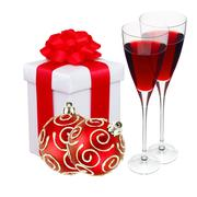 beautiful gift in white packaging, two wineglass and red christmas balls isol - stock photo