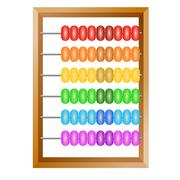 Stock Illustration of accounting , a rainbow abacus for financial calculations lies on a white back