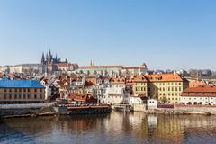 View of the castle and the vltava river Stock Photos