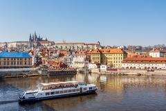 view of the castle and the vltava river - stock photo