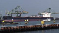 Iron ore carrier MV Vale Rio Vale Rio de Janeiro moored at EMO terminal Stock Footage