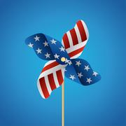 Happy independence day united states of america, 4th of july with pinwheel. Stock Illustration