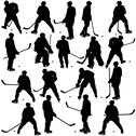 Stock Illustration of set of silhouettes of hockey player. isolated on white. vector  illustrations