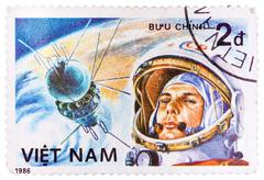 postage stamp printed in vietnam shows first spaceman yuri gagarin - stock photo