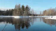 Stock Video Footage of Calm forest lake in winter, Karelia.