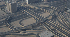 Ultra HD 4K Elevated Freeway Dubai Cityscape Aerial View Busy Street Highway Day - stock footage