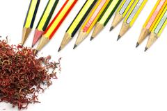 pencil and crayon shavings - stock photo