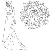 silhouette of a bride with a bouquet of flowers. - stock illustration