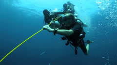 Scuba divers hanging onto anchor rope in strong current Stock Footage