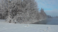 Steam over winter warm lake and trees under the snow, Karelia, Russia Stock Footage