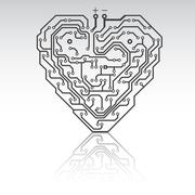 circuit board pattern in the shape of the heart. - stock illustration