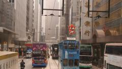 Close angle of a bus heading for happy valley is right in front of the bus Stock Footage