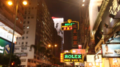Nathan road, A busy intersection in Hong Kong in the evening Stock Footage