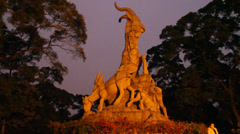 The 5 goats in Yuexiu park,  largest park in downtown Guangzhou Stock Footage
