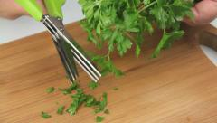 Chopping Parsley With Herb Scissors Stock Footage