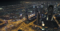 Ultra HD 4K UHD Night Light Aerial View Dubai Skyline Interchange Traffic Street Footage