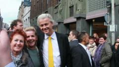 Geert Wilders campaigning in Holland Stock Footage
