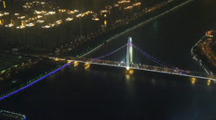 Stock Video Footage of A view of a golden gate style bridge in guanzhou from the Canton tower