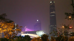 The IFC and bridge in downtown guangzhou Stock Footage
