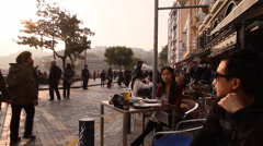 A patio view at the stanley waterfront area during sunset Stock Footage