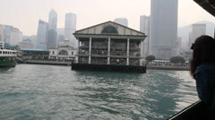Leaving the Hong Kong island harbour for kowloon Stock Footage
