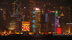 Evening view of the Hong Kong island's color skyline from Kowloon Stock Footage