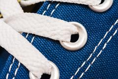 Blue Sneakers Shoe Laces - stock photo