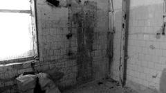 premises industrial buildings, broken cupboard, ruins, black and white - stock footage
