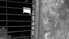 window with grating, ruins, black and white - stock footage