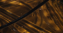 UHD Ultra HD 4K Interchange Freeway Highway Rush Hour Cars Dubai Skyline Night Stock Footage