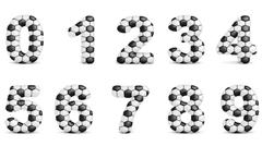 Digits with soccer relief texture Stock Illustration