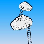 clouds with stairs, vector illustration - stock illustration